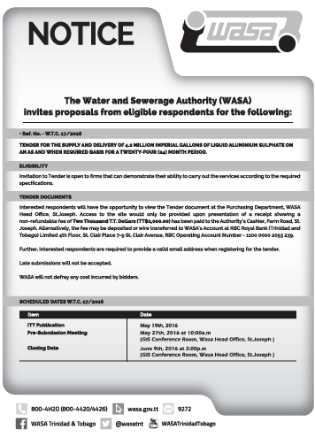 WASA Tender Advertisement 017/2016